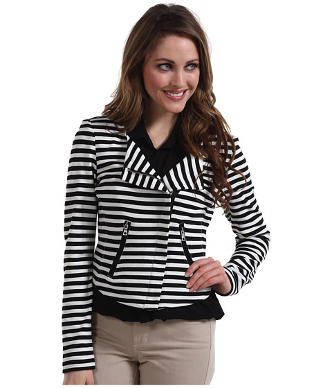 Jachete Karen Kane - Small Stripe Ponte Motorcycle Jacket - Stripe