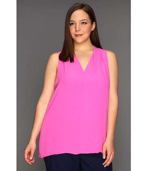 Bluze Vince Camuto - Plus Size S/L V-Neck High Low Blouse - Flamingo