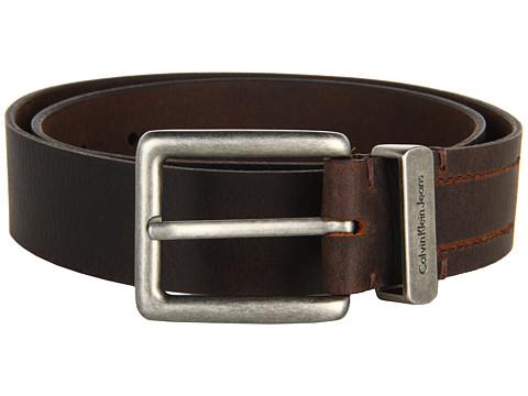 Curele Calvin Klein - 38mm Flat Strap Matte, Slightly Shrunken Leather - Brown
