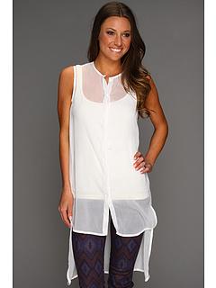 Rochii Steve Madden Solid High/Low Coverup Shirt White | mycloset.ro