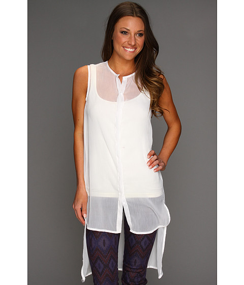 Rochii Steve Madden - Solid High/Low Coverup Shirt - White