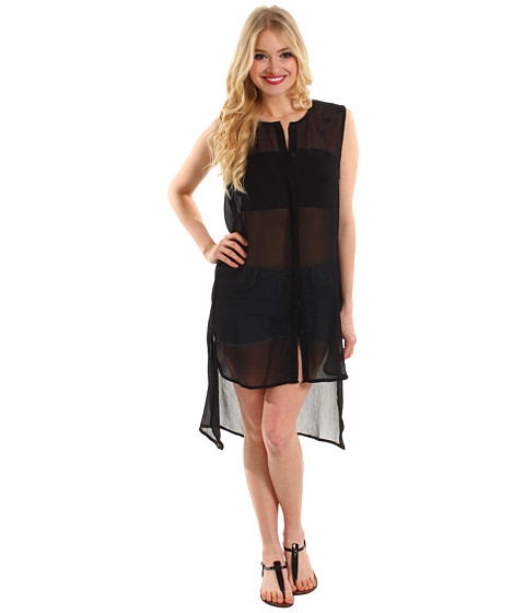 Rochii Steve Madden - Solid High/Low Coverup Shirt - Black