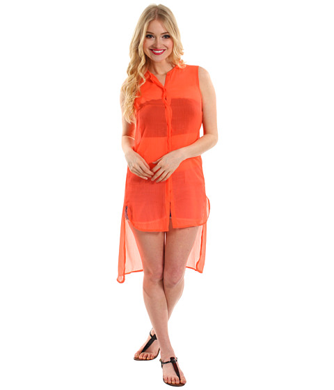 Rochii Steve Madden - Solid High/Low Coverup Shirt - Coral