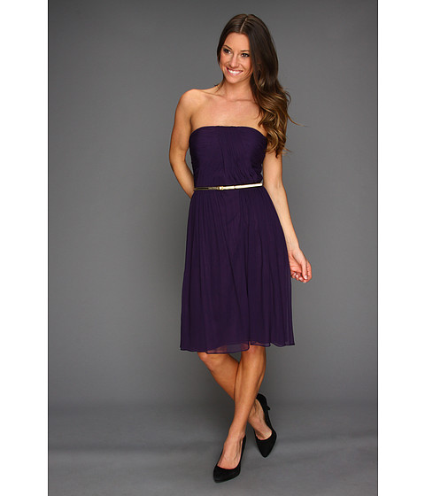 Rochii Donna Morgan - Donna Strapless Belted Chiffon Dress - Amethyst