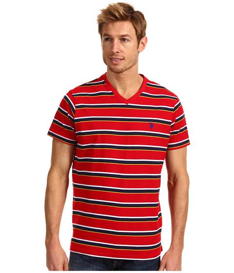 Tricouri U.S. Polo Assn - Striped V-Neck T-Shirt with Small Pony - Engine Red