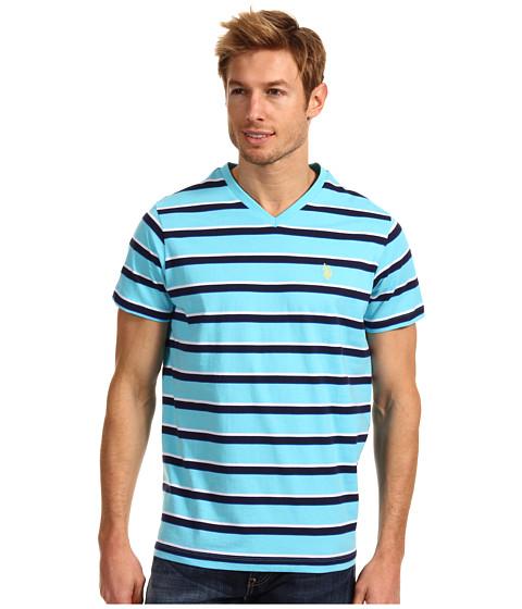 Tricouri U.S. Polo Assn - Striped V-Neck T-Shirt with Small Pony - Horizon Blue