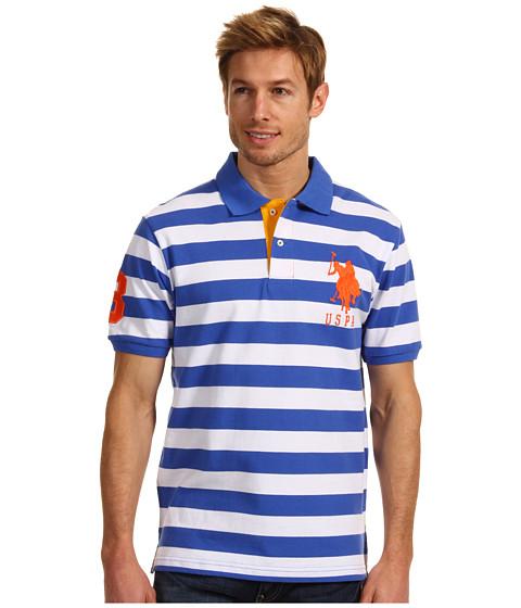 Tricouri U.S. Polo Assn - Medium Width Striped Polo - Riviera Blue/White