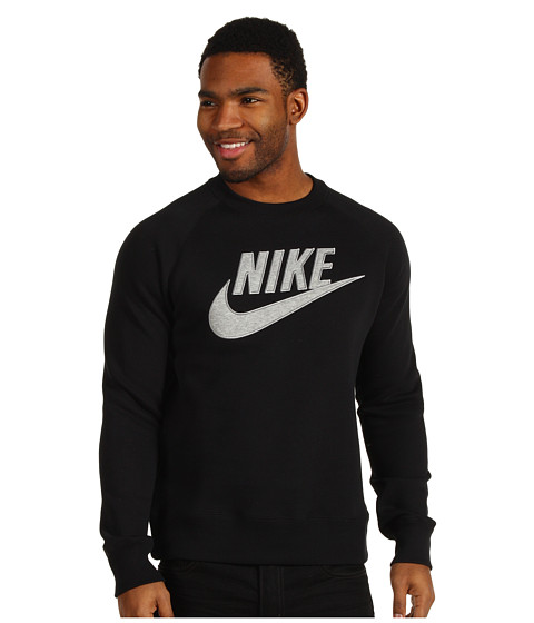 Bluze Nike - HBR Brush Crew - Black/Dark Grey Heather