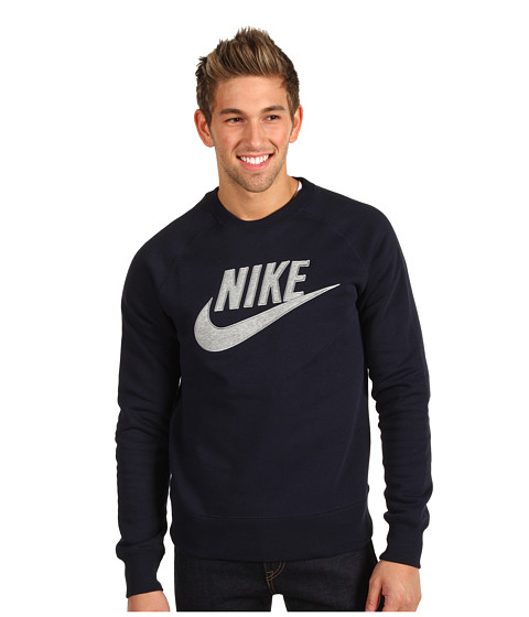 Bluze Nike - HBR Brush Crew - Dark Obsidian/Dark Grey Heather