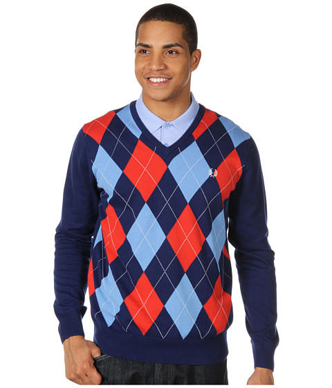 Pulovere Fred Perry - Argyle V-Neck Sweater - Medieval Blue