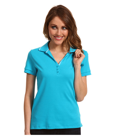 Tricouri Jones New York - S/S Drop Button Polo with Contrast Tipping - Pacific Turquoise/White