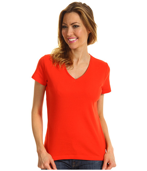 Tricouri Jones New York - S/S V-Neck - Dark Orange Blaze