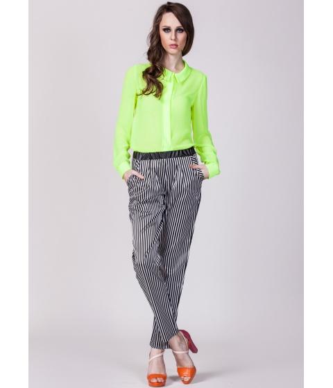 Pantaloni Moja - Pantaloni cu dungi verticale - Alb/Negru