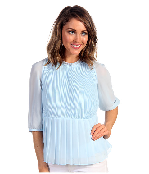 Bluze Ted Baker - Ninah Gathered Sleeve Micro Pleat Top - Baby Blue