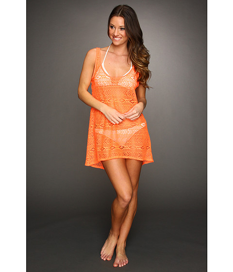 Rochii elegante: Rochie Hurley - One & Only Solids Scoop Neck Crochet Cover Up - Orange