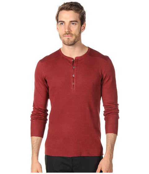 Bluze John Varvatos - Mixed Rib L/S Henley - Red Clay
