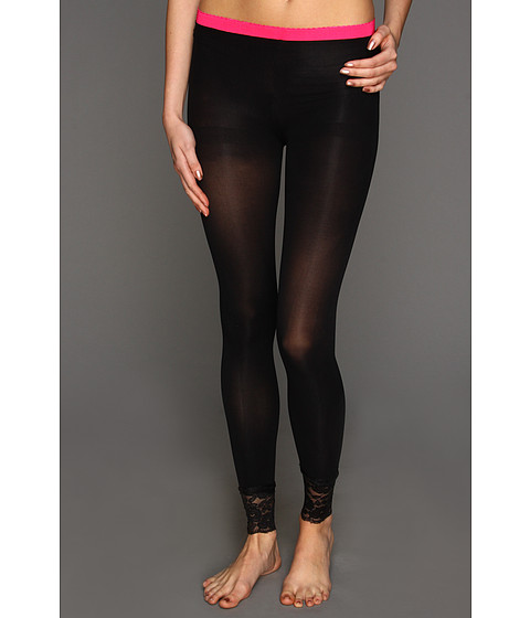 Lenjerie Betsey Johnson - 2 Pack Lovely Lace Cuff Footless Tight - Black/Bubble Gum