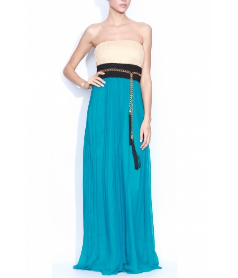 Rochii elegante: Rochie Nissa - Rochie Rs308 - Nude/Turcoaz