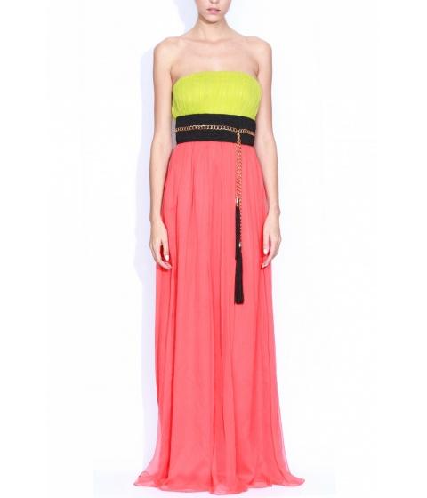Rochii elegante: Rochie Nissa - Rochie Rs308 - Verde/Coral