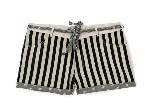 Pantaloni Humanoid - Pantalon Scurt Negru cu Alb - Array