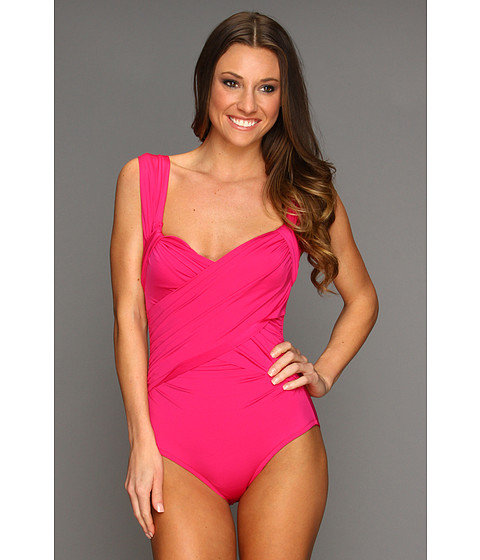 Costume de baie Badgley Mischka - Solids Wide Strap Draped Front Maillot - Rose