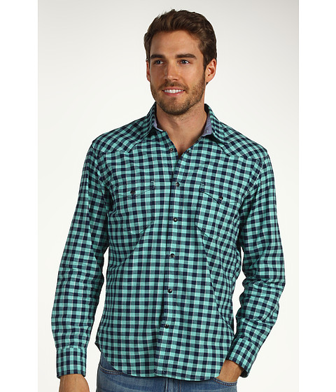 Bluze Lucky Brand - Del Norte Gingham 1 Pocket Shirt - Turquoise/Navy