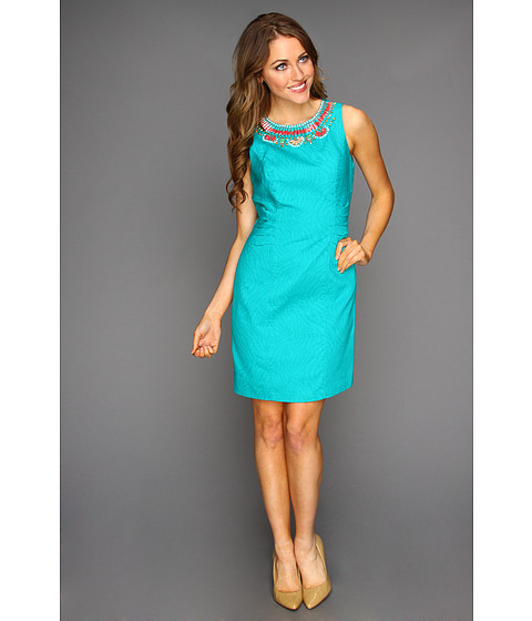 Rochii Laundry by Shelli Segal - Beaded Jacquard Dress - Aqua