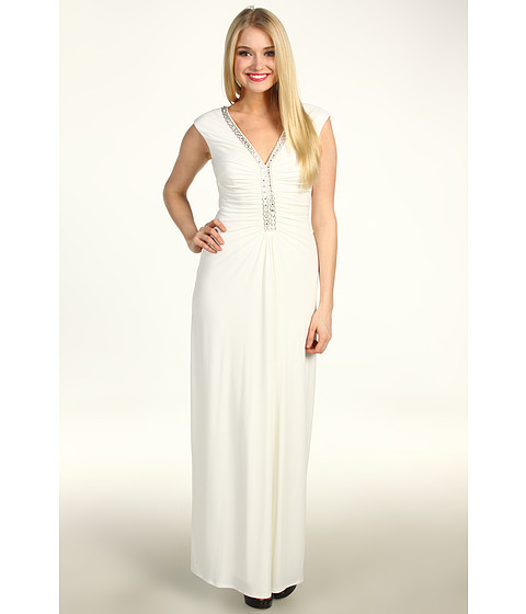 Rochii Laundry by Shelli Segal - Cap Sleeve Jersey Beaded Gown - Pearl