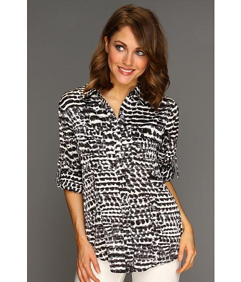 Tricouri Calvin Klein - Printed Roll Sleeve Blouse - Black Combo