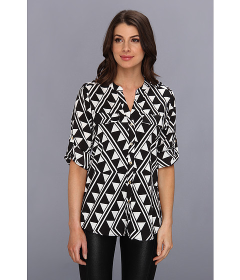 Bluze Calvin Klein - Printed Roll Sleeve Blouse - Black/Winter White