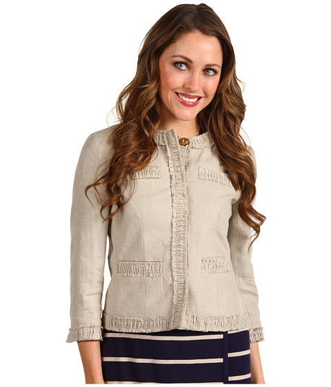 Jachete Michael Kors - Petite Linen 4 Pocket Smocked Trim Jacket - Hemp