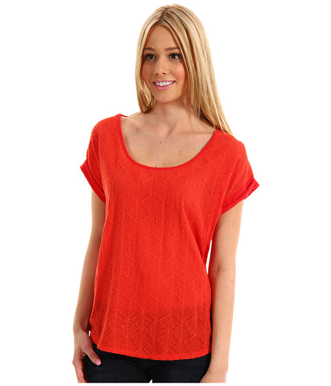 Bluze Lucky Brand - Geo Embroidered Tee - Red Chili Pepper