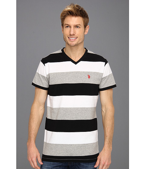 Tricouri U.S. Polo Assn - Wide Striped V-Neck T-Shirt with Small Pony - Heather Grey