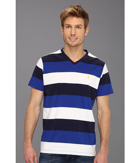 Tricouri U.S. Polo Assn - Wide Striped V-Neck T-Shirt with Small Pony - Cobalt Blue