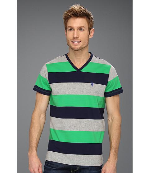 Tricouri U.S. Polo Assn - Wide Striped V-Neck T-Shirt with Small Pony - Cactus Flower