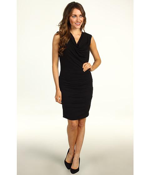 Rochii Nicole Miller - Tucked Stretchy Matte Jersey Dress - Black