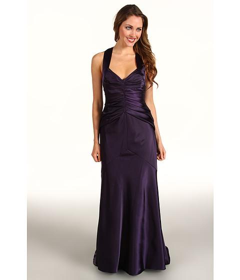 Rochii Calvin Klein - Satin Gown with Pleated Bodice - Plum