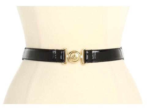 """Curele Anne Klein New York - Anne Klein 1\"""" Patent Belt w/ Lion Interlock - Black Gold"""