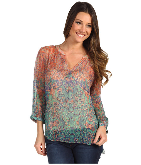 Bluze Lucky Brand - Sara Decorated Royal Top - Calypso Coral Multi