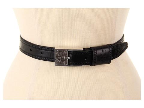 Curele LAUREN Ralph Lauren - Embossed Leather Belt w/ Equestrian Tooled Buckle - Black