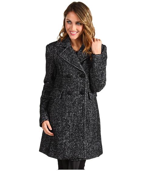 Jachete Ivanka Trump - Double Breasted Notch Lapel Wool Coat - Black/White