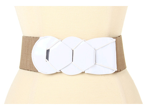 Curele LAUREN Ralph Lauren - Patent Link Stretch Belt - Natural/White