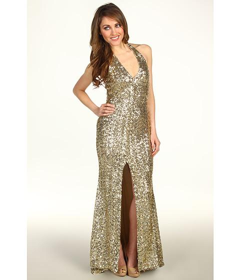Rochii Badgley Mischka - Mark & James Front Slit Sequined Halter Gown - Gold