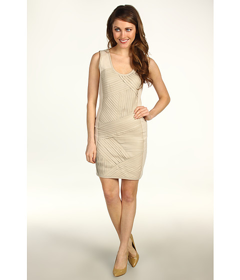 Rochii Badgley Mischka - Mark & James Leather Strip Ponte Dress - Beige
