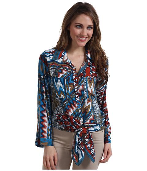 Bluze Karen Kane - Tile Patchwork Tie Front Top - Print