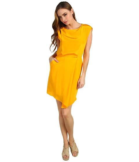 Rochii Tibi - Solid Silk Drape Dress - Tangerine