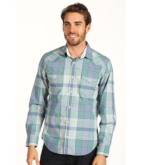 Bluze Lucky Brand - Merin Plaid 2 Pocket Shirt - Turquoise Plaid Ozone