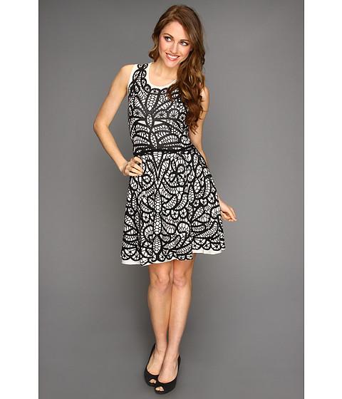 Rochii BCBGMAXAZRIA - Talulah Pleated Jacquard Dress - Black Combo