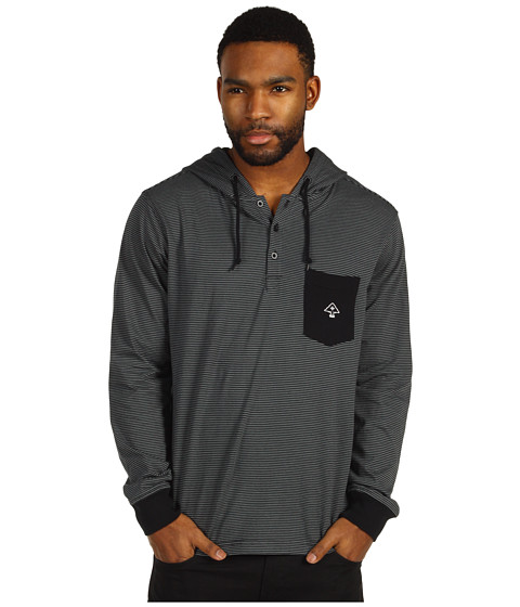 Tricouri L-R-G - Core Collection Pullover Layering Hooded Henley - Black