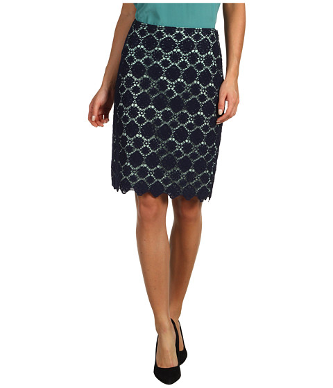 Fuste Vince Camuto - Embroidered Lace Pencil Skirt - Blue Night